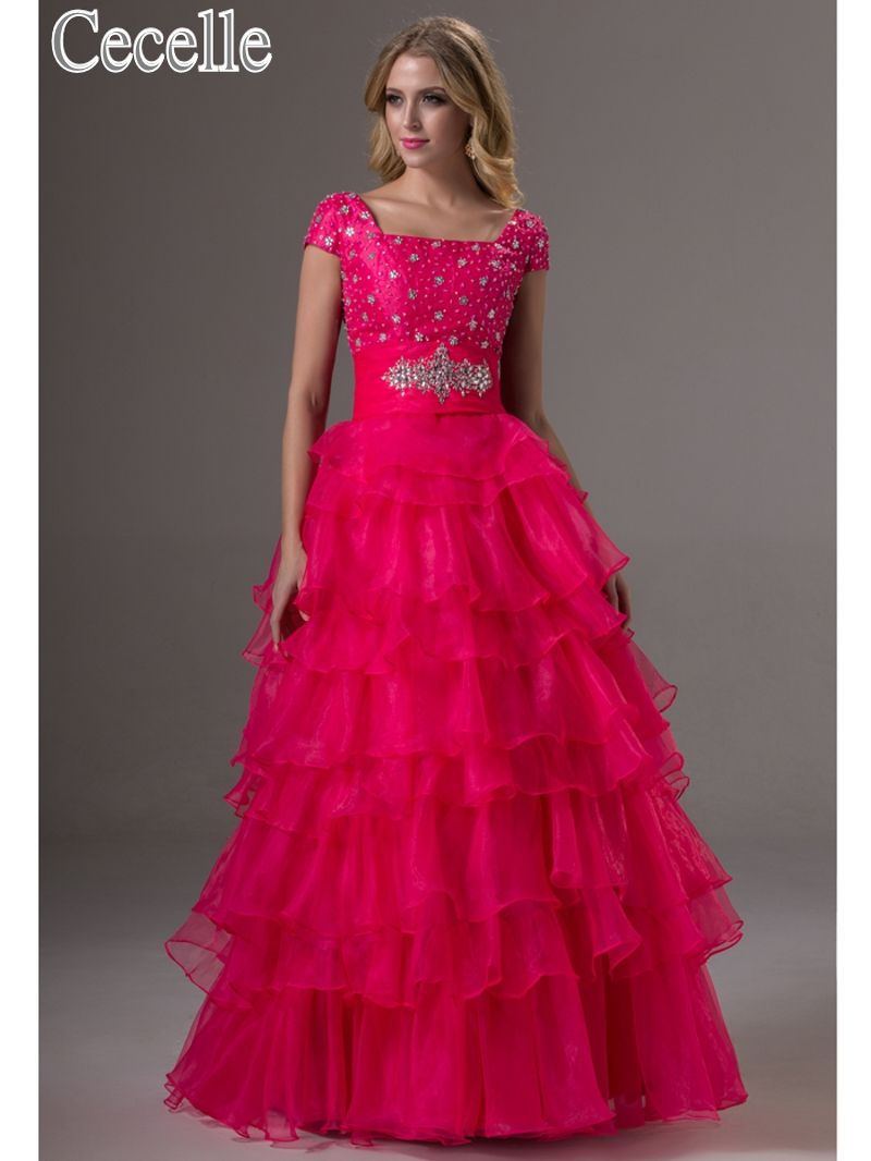 Click to buy ucuc real fuchsia long modest prom dresses with