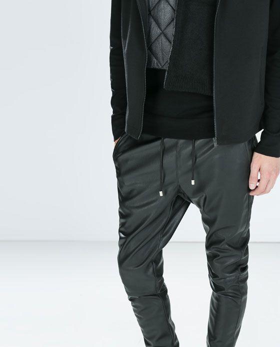 3ca7d1ca ZARA - SALE - JOGGING PANTS   Edge Man   Leather jogging pants ...