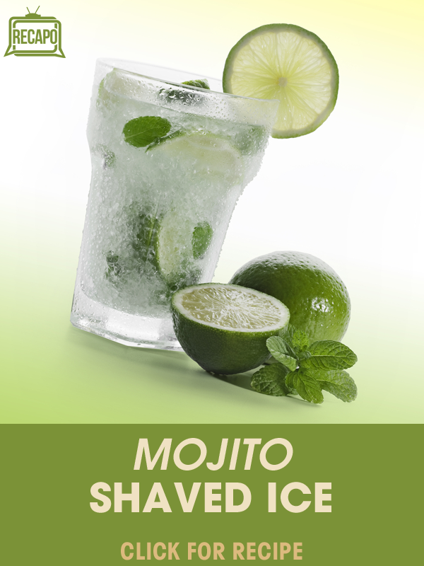 This recipe is like a great frozen sno cone for adults! Try out this Mojito  Shaved Ice with homemade mojito syrup and mint!