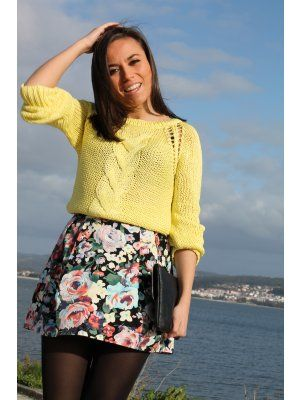 mondaytofriday Outfit   Primavera 2012. Combinar Jersey Amarillo Zara, Falda Verde oscuro H