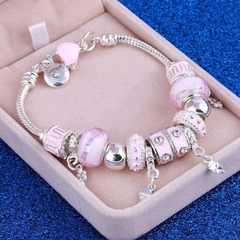 "Women's Pink  Chain-Link Crystal Charm Bracelet With Murana Beads 7.8"" #Unbranded"