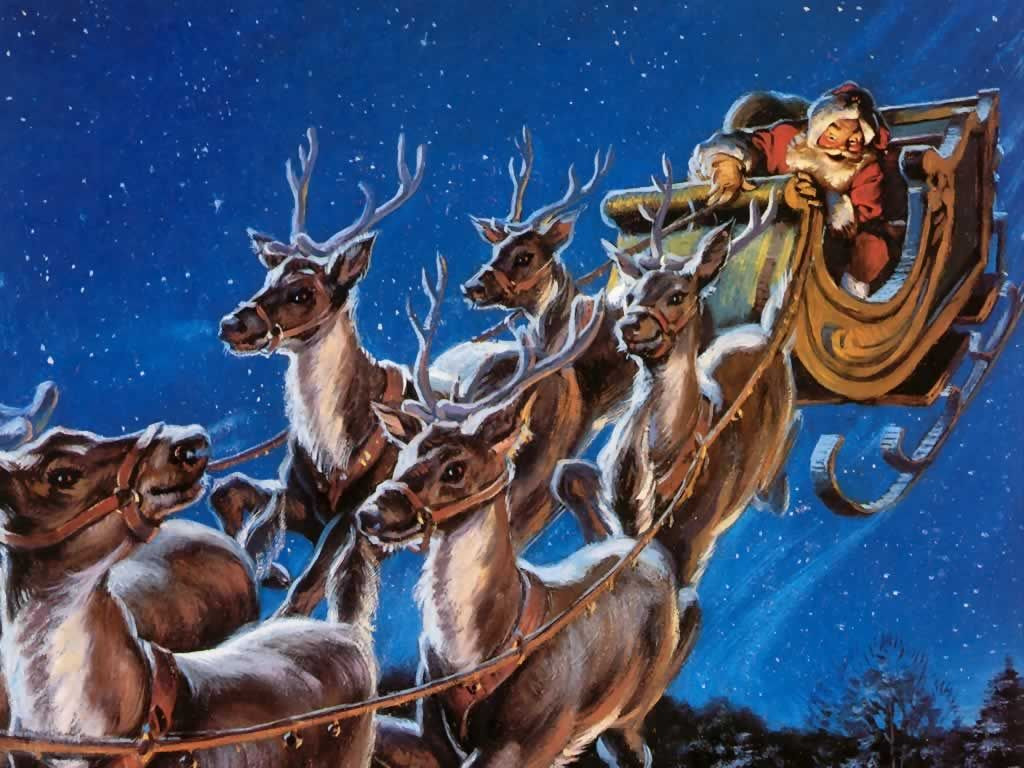 Cartoon Of Santa And His Sleigh With Reindeer Santa Claus Wallpaper Santa And Reindeer Santa Claus Is Coming To Town