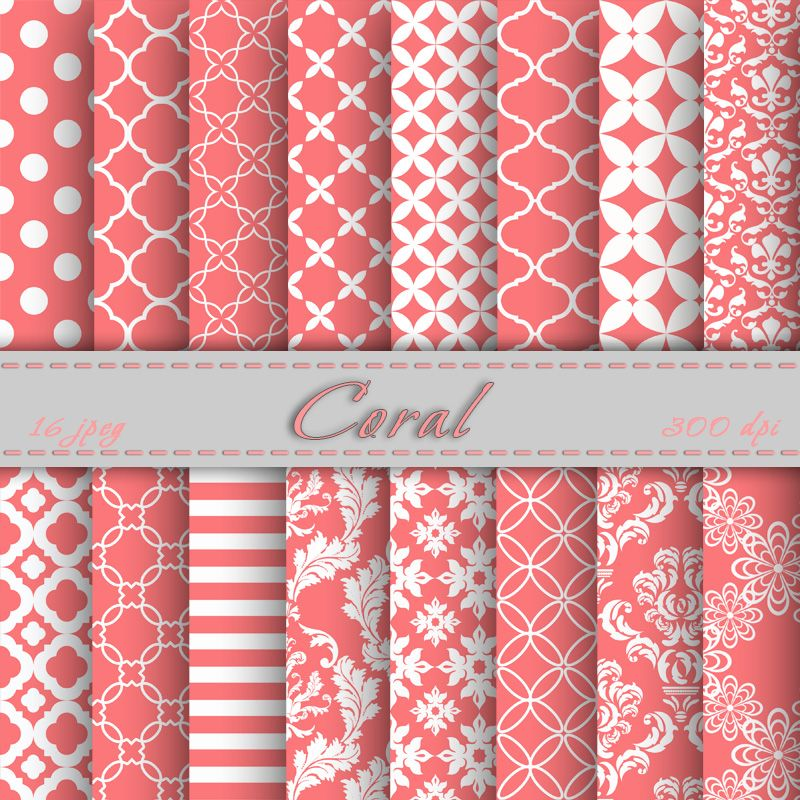Coral digital paper scrapbooking pa paper patterns and - Scrapbook background free printables ...