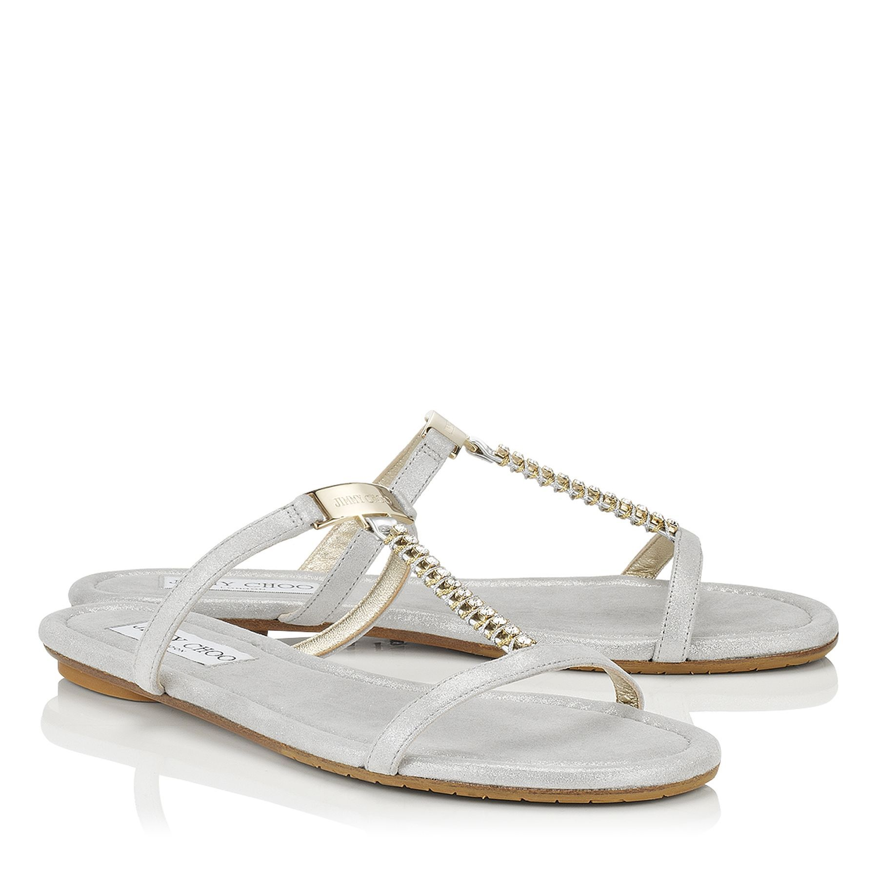 ebf546bc63897e ... best silver shimmer suede and crystal flat sandals nala spring summer  14 jimmy choo shoes c734f