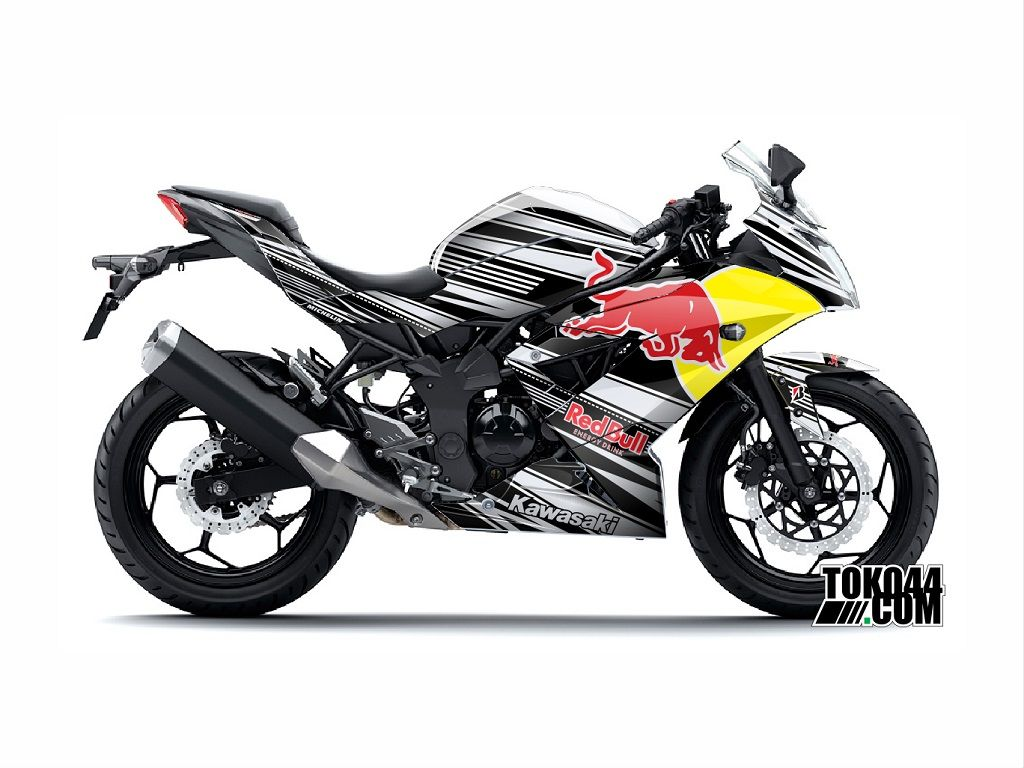 decal sticker ninja rr mono 250 putih – stiker modifikasi kawasaki