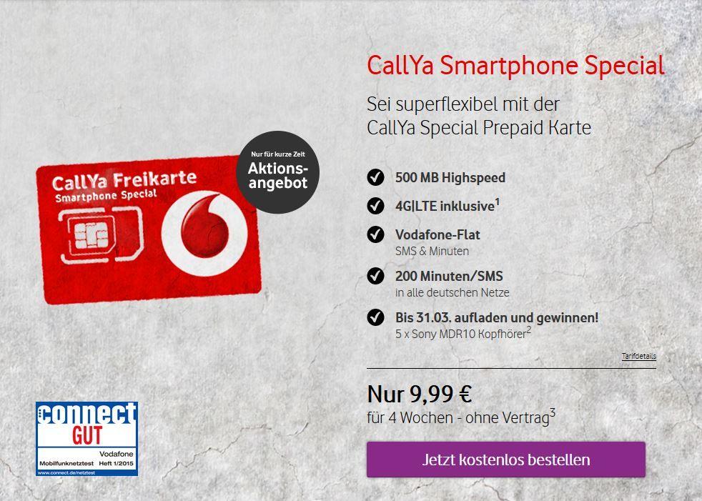 Vodafone Prepaid Karte Kostenlos.Vodafone Callya Freikarte Kostenlose Prepaid Sim Karte Mit 4g Lte