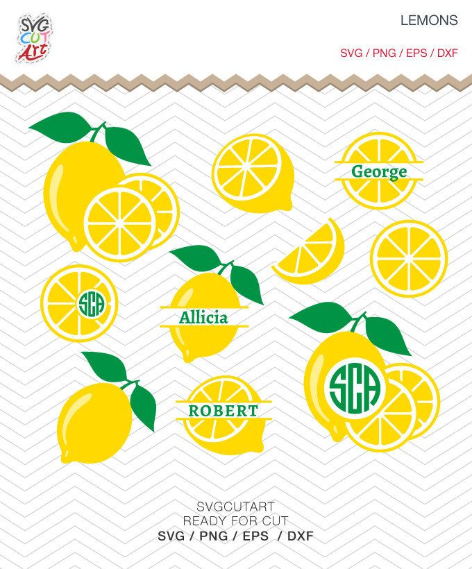 Lemons svg, Fruit SVG, Lemon monogram, Fruit monogram