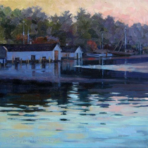 Round Lake Oil Painting Of Boat Houses Near Charlevoix