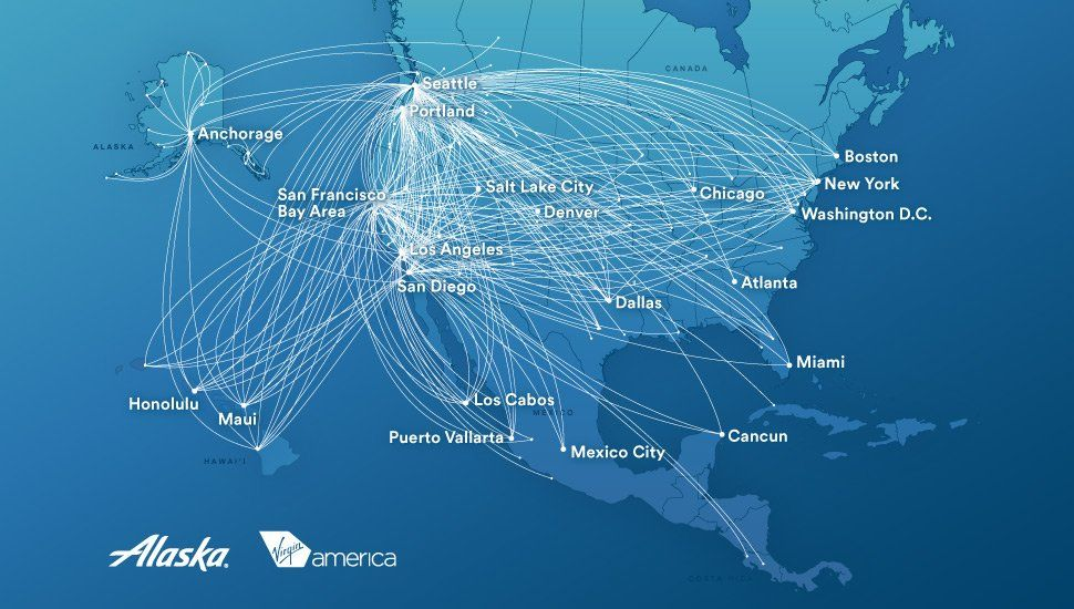 Alaska Airlines route map | Alaska airlines, Alaska, Flight map