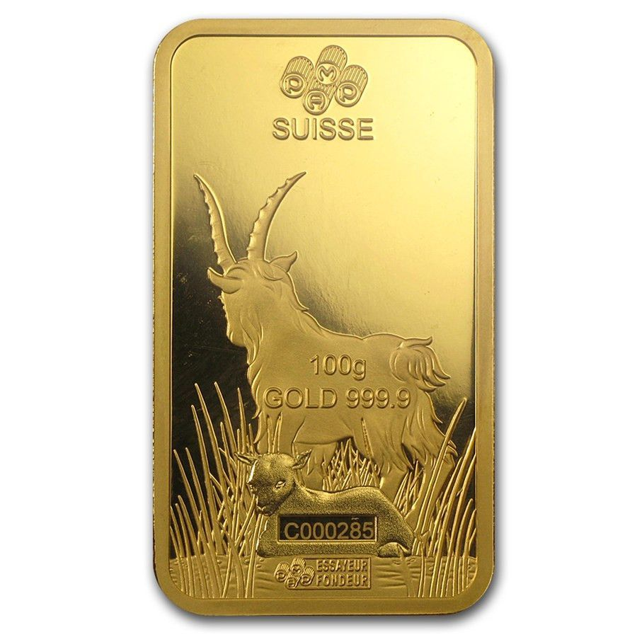 100 Gram Gold Bar Pamp Suisse Year Of The Goat In Assay