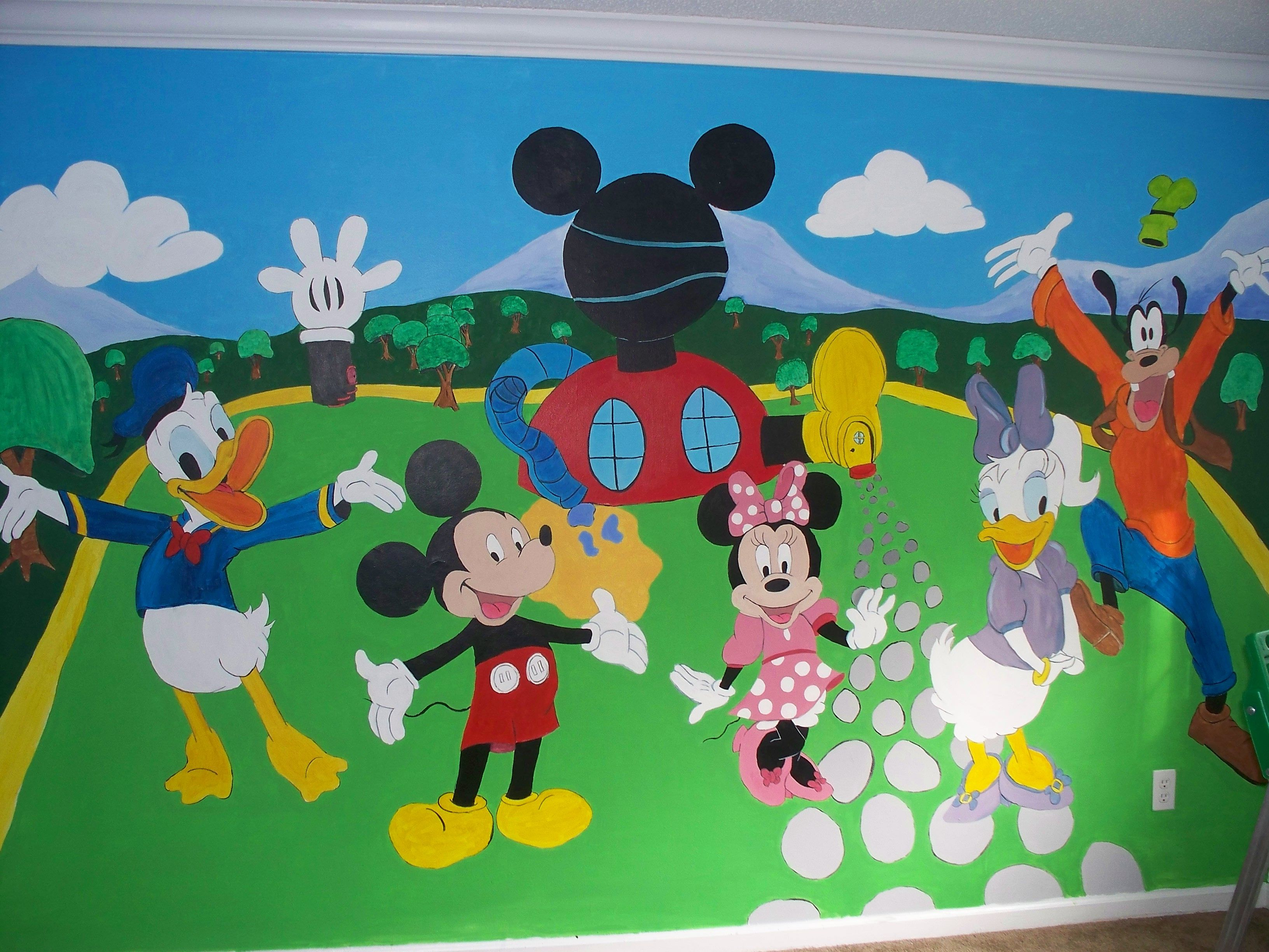 Hand Painted Mickey Mouse Clubhouse Wall Mural