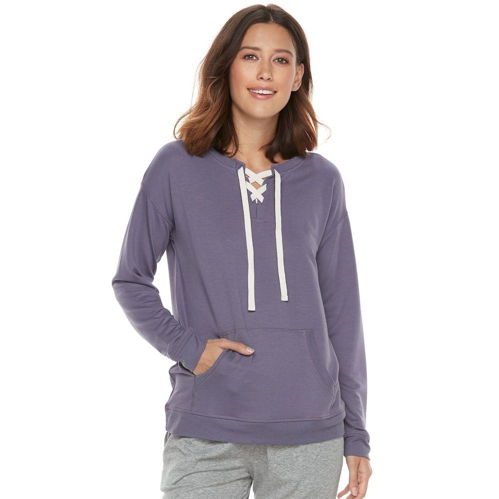 "355311214 Women's SONOMA Goods for Lifeâ""¢ Pajamas: Lace-up Sweatshirt, Size: Medium,  Med Purple"