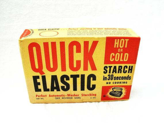 Vintage Quick Elastic Laundry Starch Box Unopened By Tinsstore