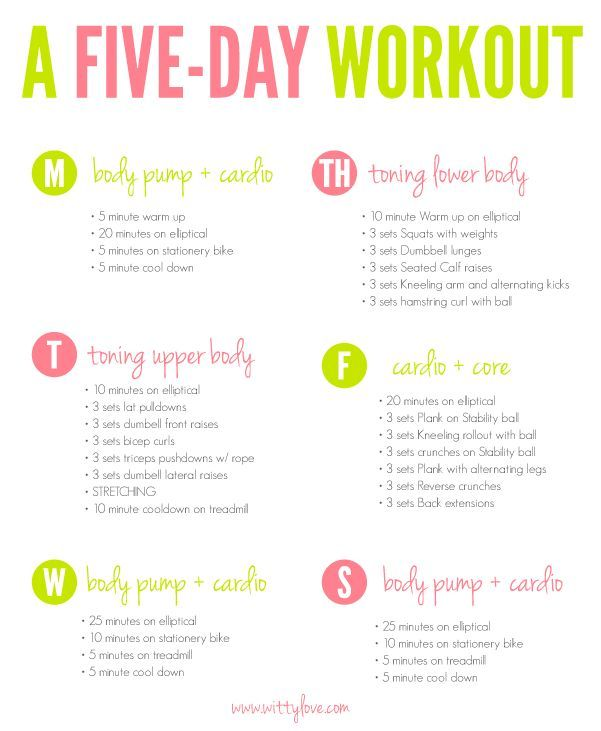 5 Day Workout Routine For Weight Loss And Toning | sport1stfuture org