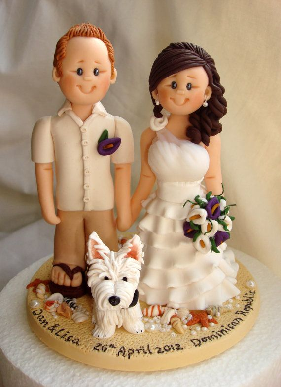Personalised Bride And Groom On Beach Wedding Cake Topper