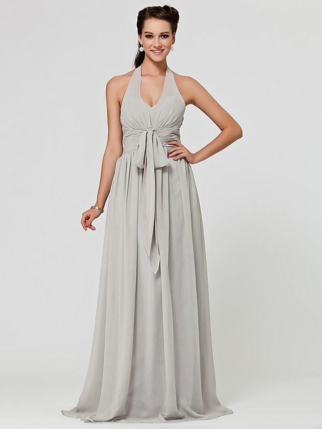 Brautjungfernkleid - Silber Chiffon - A-Linie/Princess-Stil ...