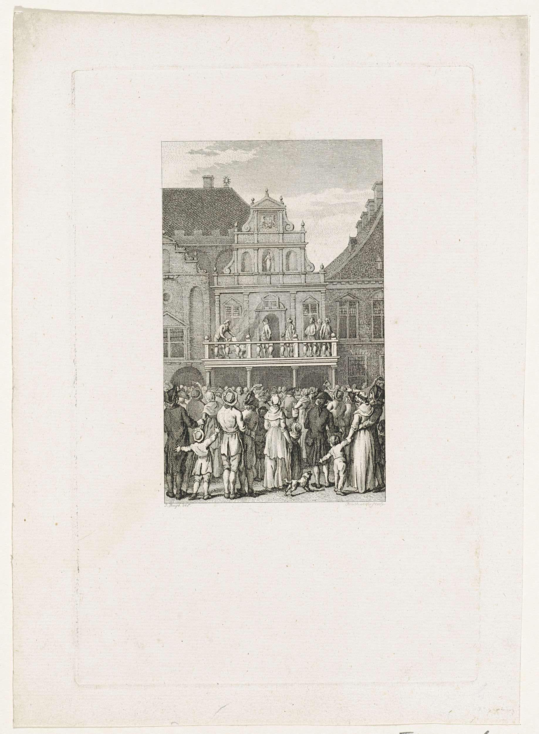 Reinier Vinkeles | Verbranding van een pamflet te Haarlem, 1790, Reinier Vinkeles, 1799 | Publieke verbranding van een fameus pamflet door de beul op een schavot voor het stadshuis te Haarlem, 23 maart 1790.