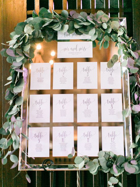 Summer Chic Wedding In California Mirror Seating Chart Seating Charts And Chart