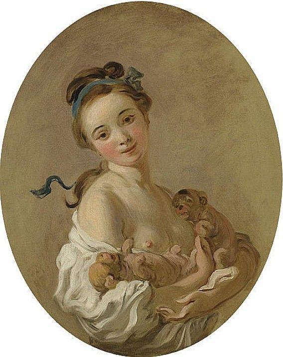 Jean-Honoré Fragonard - Jeune fille tenant deux chiots