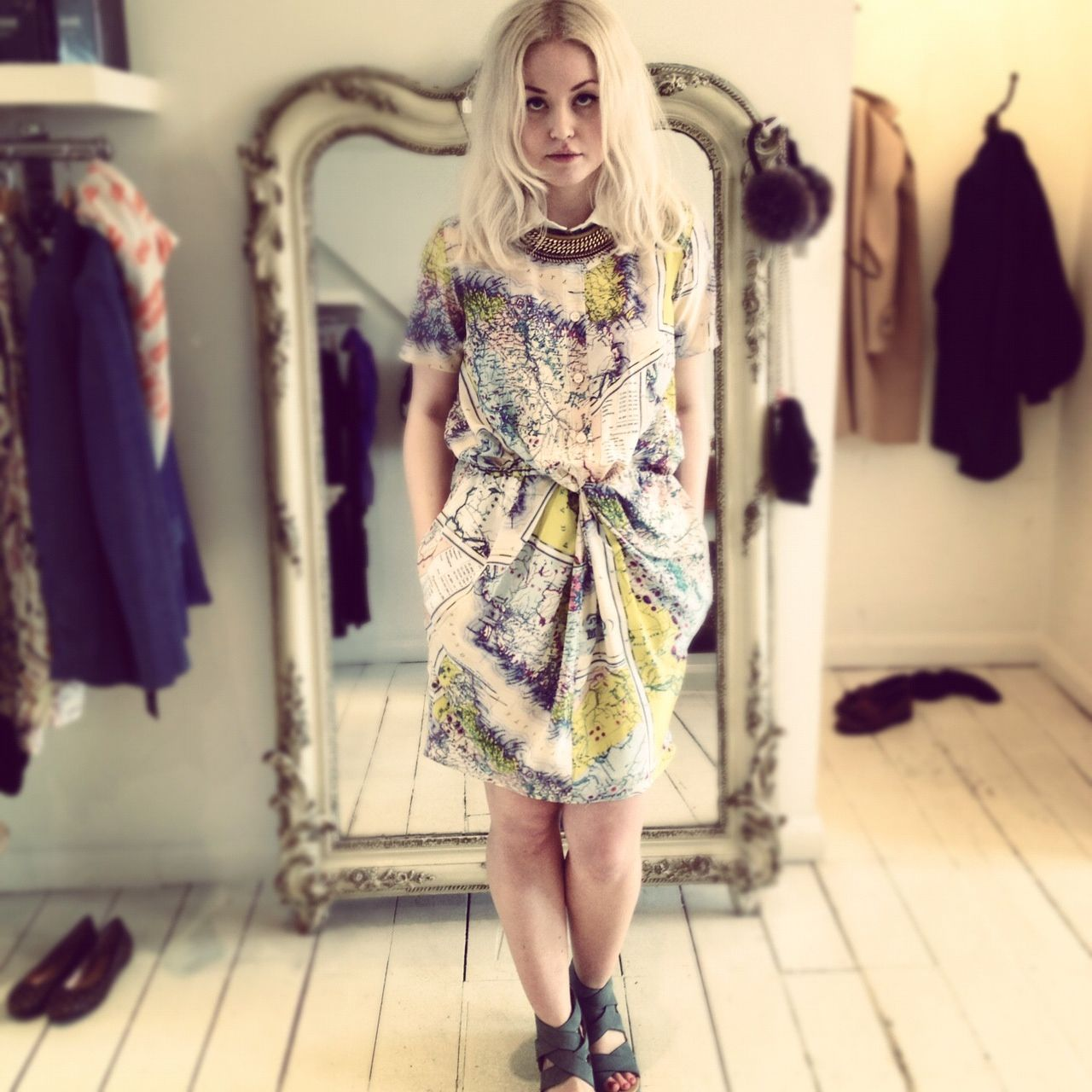Jonna in Carven Map Dress