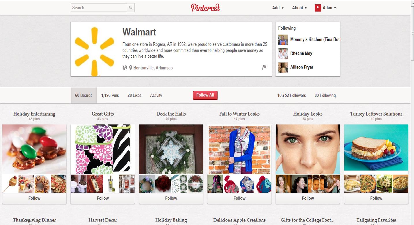 """Walmart reorganiseert zij catalogus op pintrest en licht de gebruiksgelgen heden toe; """"Holiday Gifts,Thanksgiving Diner"""""""