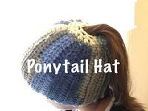 549f543be3471 DIY Tutorial - Crochet Messy Bun Hat - Ribbed Bun Pony Tail Updo Hat with  Hole on Top - YouTube