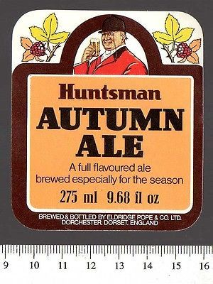 UK Beer Label - Eldridge Pope Brewery - Dorset - Huntsman Autumn Ale - http://collectibles.goshoppins.com/breweriana/uk-beer-label-eldridge-pope-brewery-dorset-huntsman-autumn-ale/