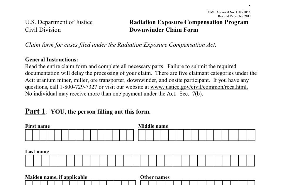 Radiation Exposure Compensation Act Reca Claim Form Application