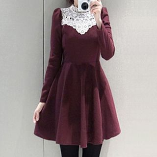 Buy Fashion Street Lace Yoke Long-Sleeve Dress at YesStyle.com! Quality products at remarkable prices. FREE WORLDWIDE SHIPPING on orders over US$35.