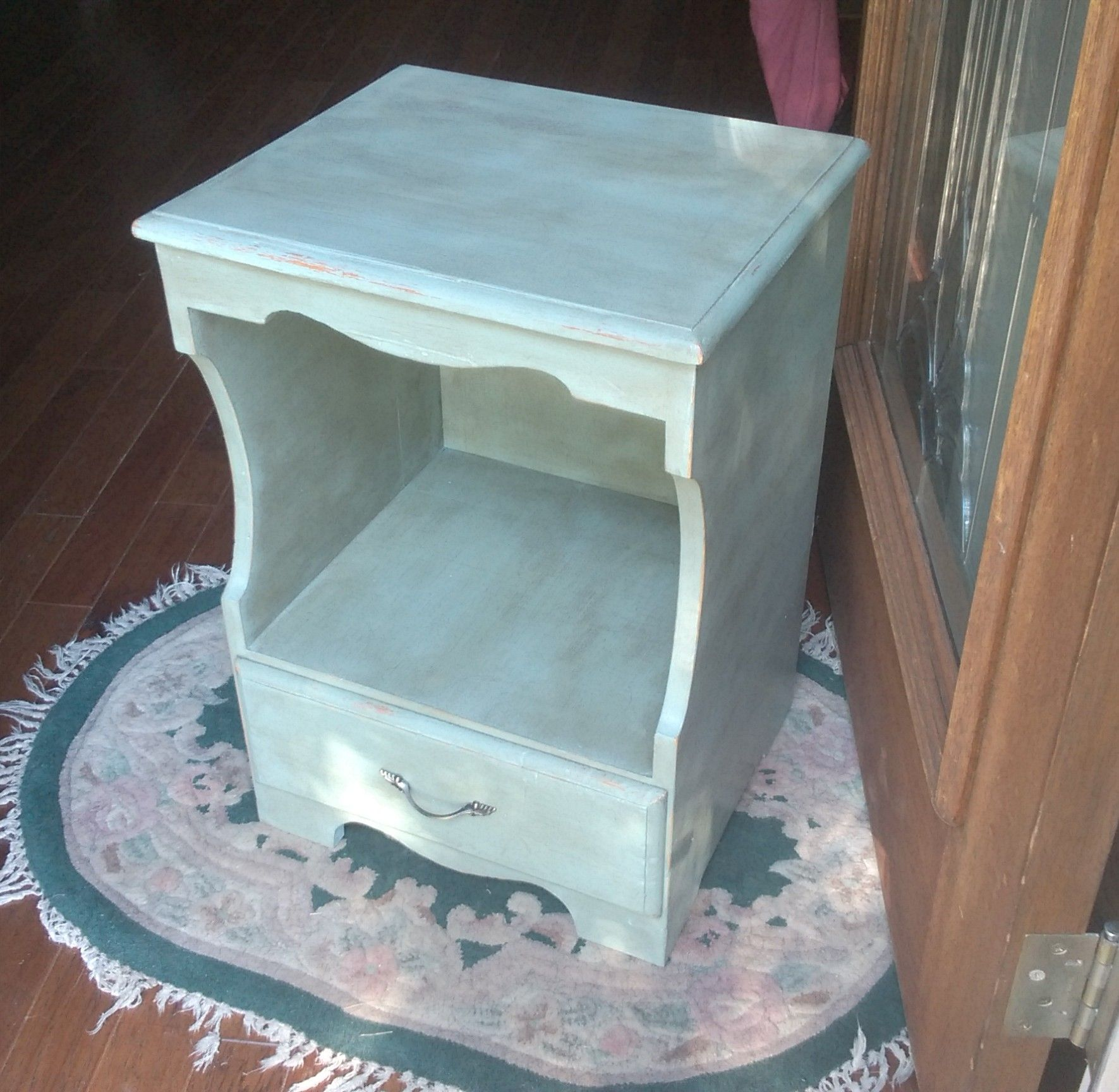 Night Table in Annie Sloan Duck Egg and Dark Wax :)