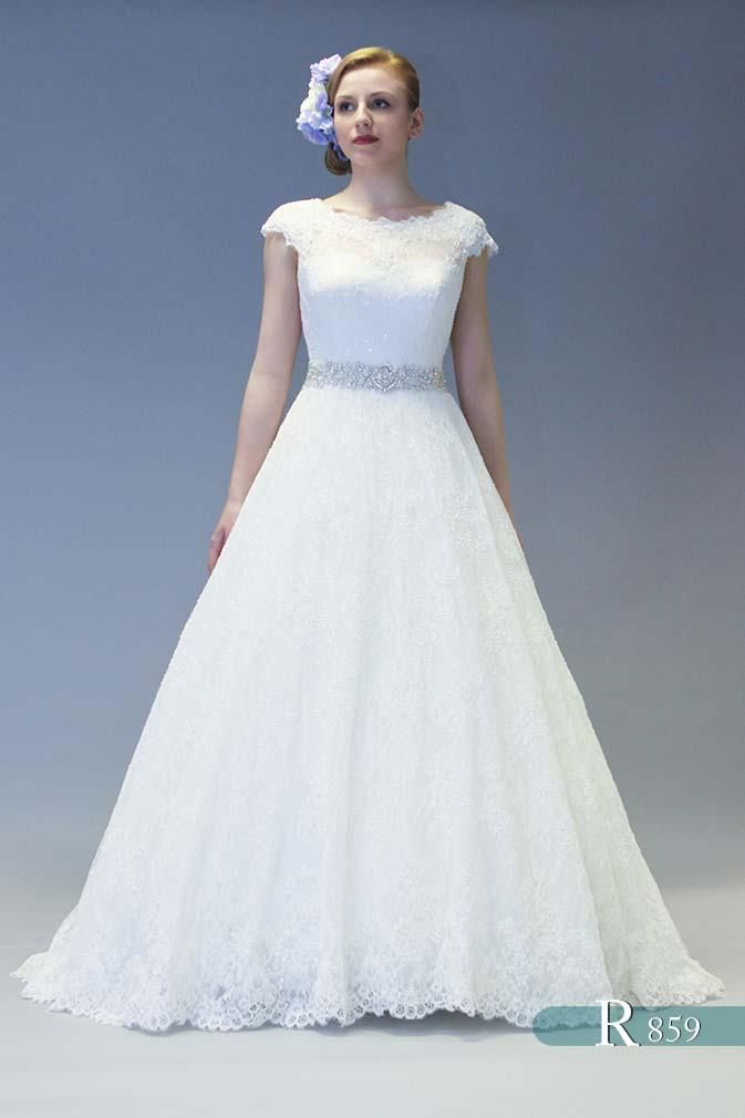 White Rose Holly Gorgeous Sparkling Lace Wedding Dress With Cap Sleeves