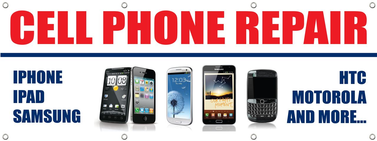 Cell Phone Repair Banner Poster Sign computer repair iphone ipad ipod samsung