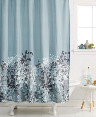 Dress Up Your Bath Space With This Kassatex Shower Curtain Boasting A Delicate Willow Design On Cool Blue Cotton