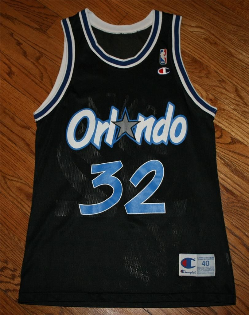 9c3b2bb4cb0d Vintage Shaquille O Neal  32 Orlando Magic black Champion NBA Jersey-Mens  40-NEW