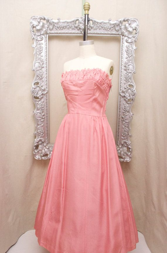 1940s strapless party dress 40s pink gown size medium Vintage 40s ...