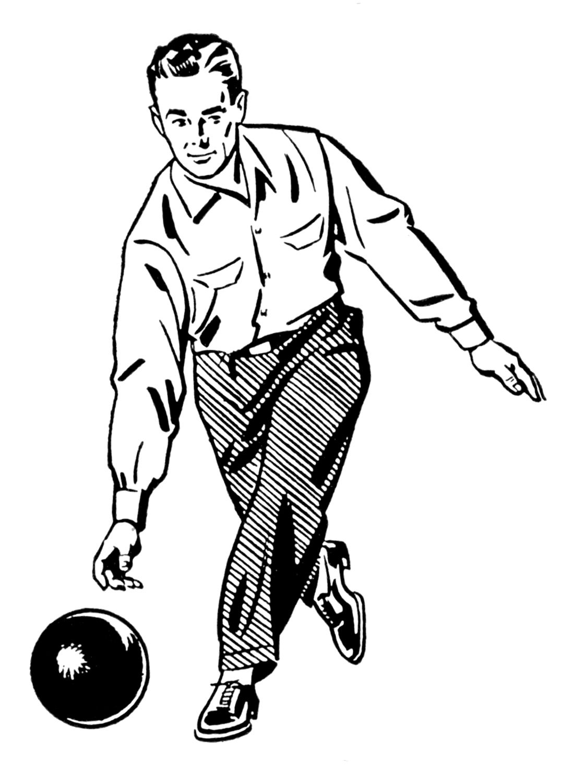 Retro Clip Art Woman And Man Bowling The Graphics Fairy Retro Illustration Clip Art Clip Art Vintage