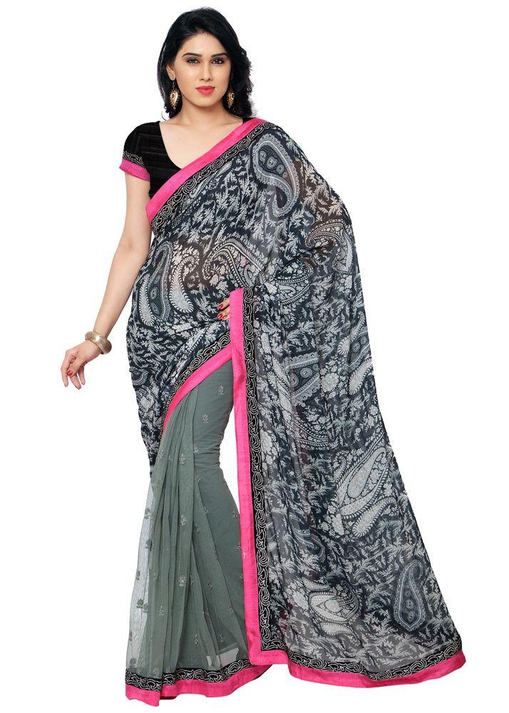 2cf9670e00 Shopeezo Chiffon Saree - Grey | Women Sarees | Chiffon saree, Saree ...
