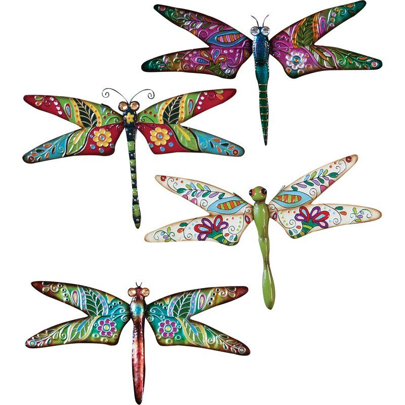 Larissa Dragonfly 4 Piece Set In 2021 Outdoor Wall Decor Dragonfly Decor Dragonfly Wall Decor