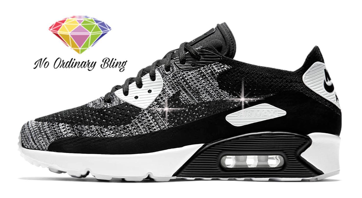 Black Bling Nike Air Max 90 Women's Flyknit Black/White