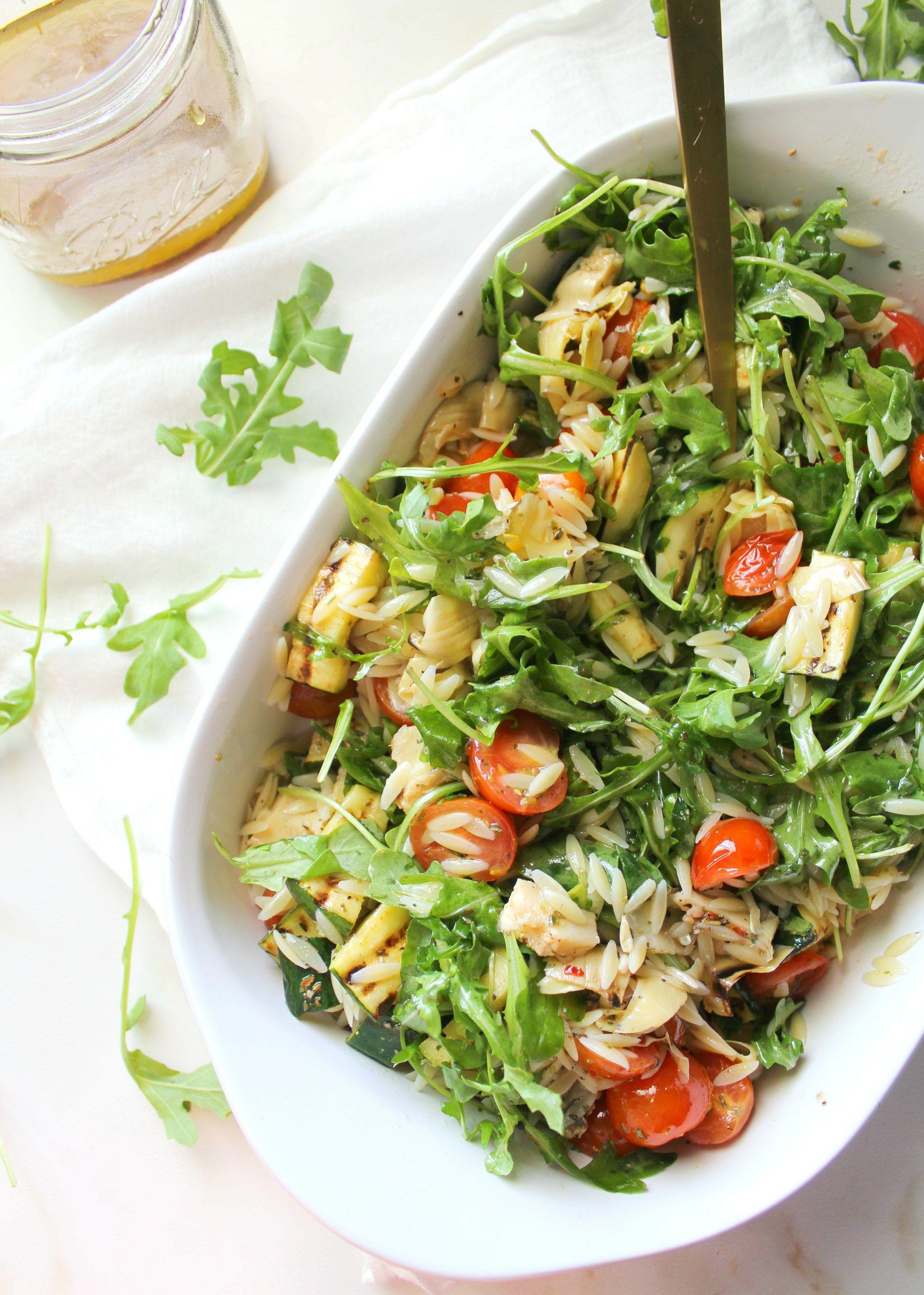 Vegan Orzo Pasta Salad With Grilled Veggies