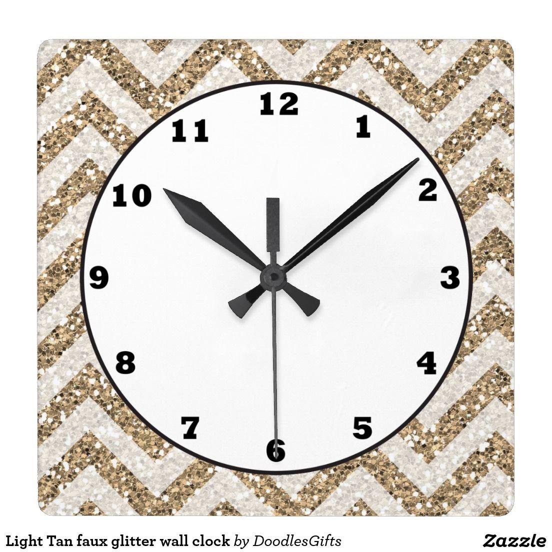 Light Tan faux glitter wall clock
