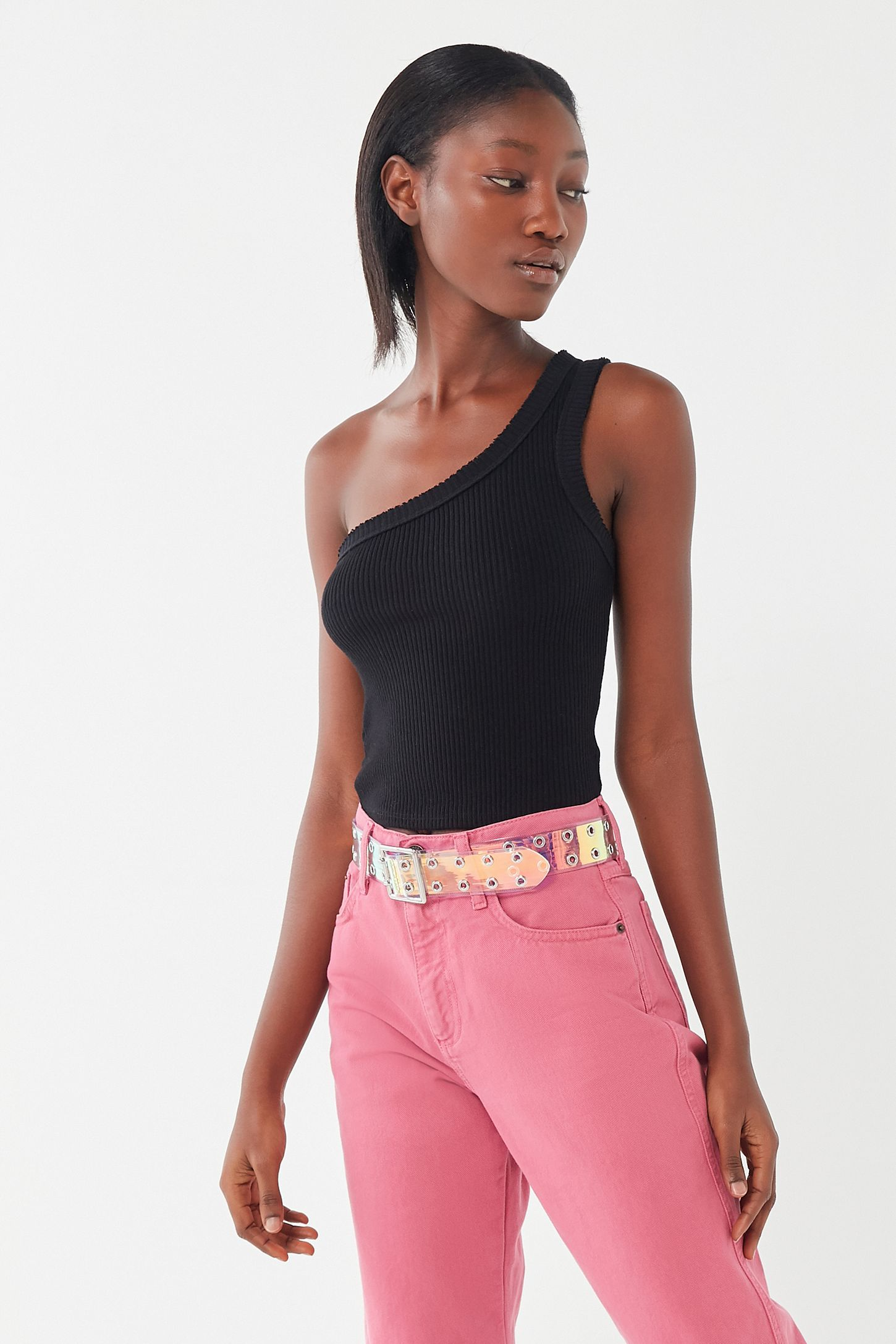 10a05467249 UO Ribbed One-Shoulder Tank Top in 2019 | outfits | Tops, Tank tops ...