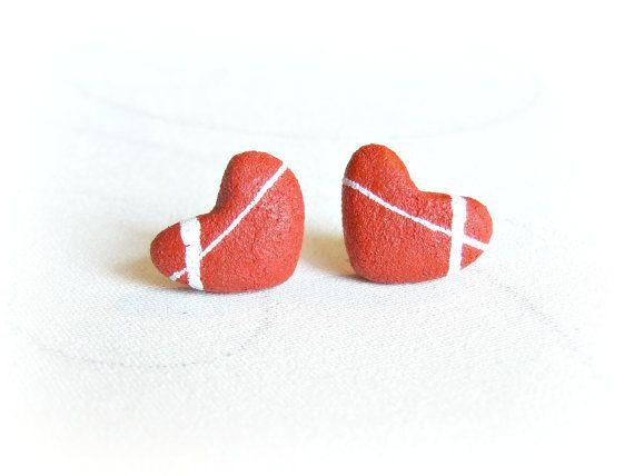 Romantici orecchini lobo Cuoricini rossi ciottoli di Sognoametista