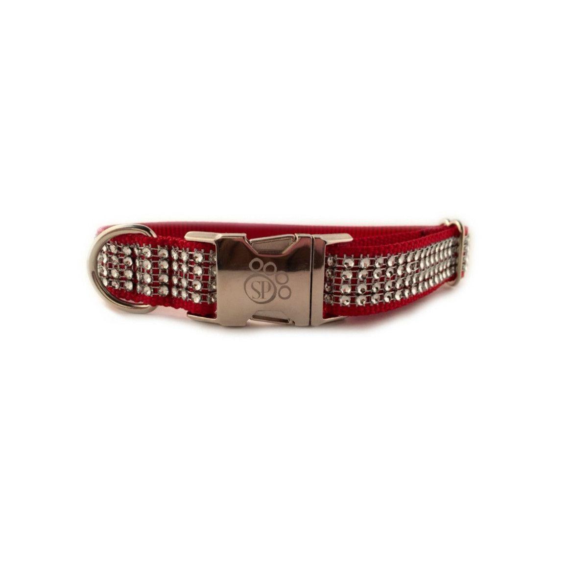 Crimson Fashion BLING Dog Collar with Metal Buckle