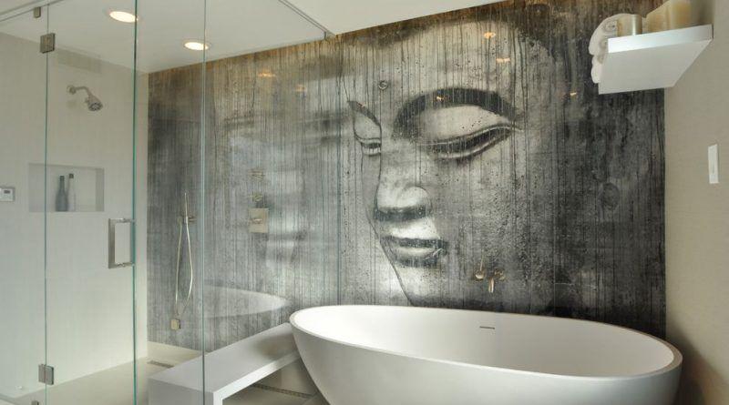 Trompe L Oeil Mural Interieur With Contemporain Salle De Bain