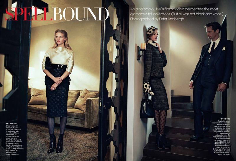 Spellbound with Lara Stone & Frida Gustavsson for US Vogue Jul '11 - titles