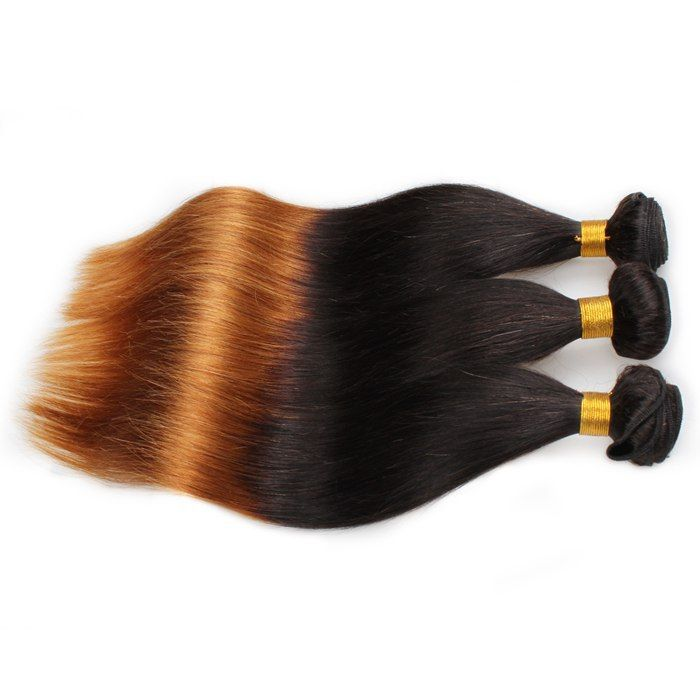 Mink Hair Virgin Brazilian Straight Hair 3 Bundles Ombre Hair Weave