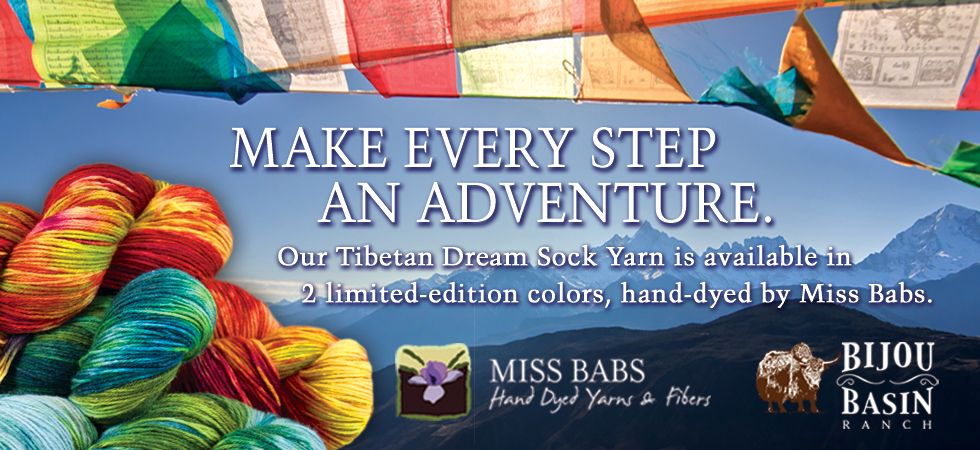 Bijou Basin Ranch - Limited Edition Tibetan Dream Sock Yarn, hand dyed by Miss Babs in two exciting colorways!
