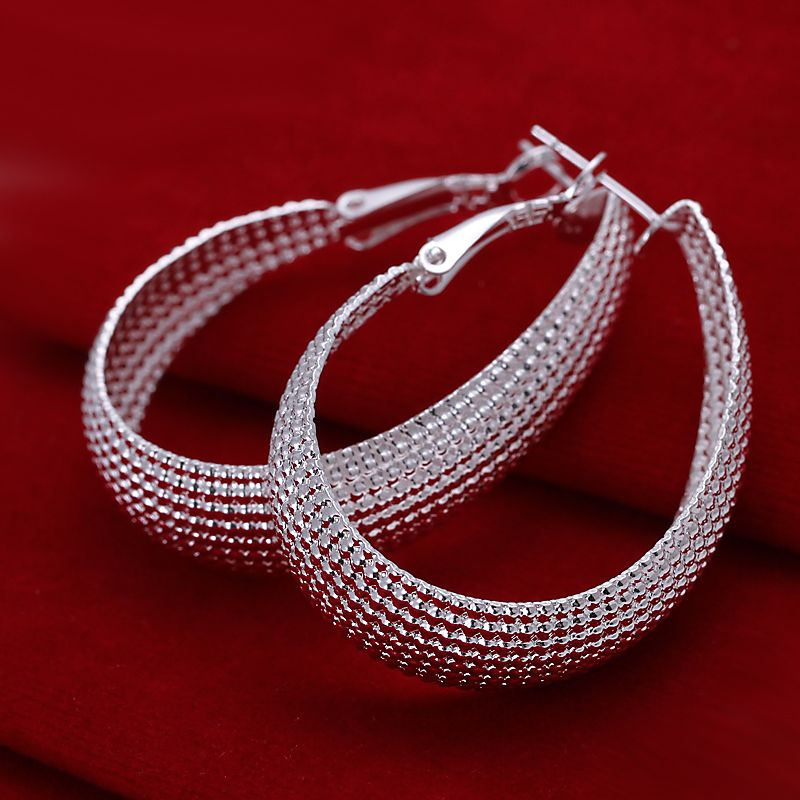 Personalized Statement Sliver Plated Hoop Earrings for Women