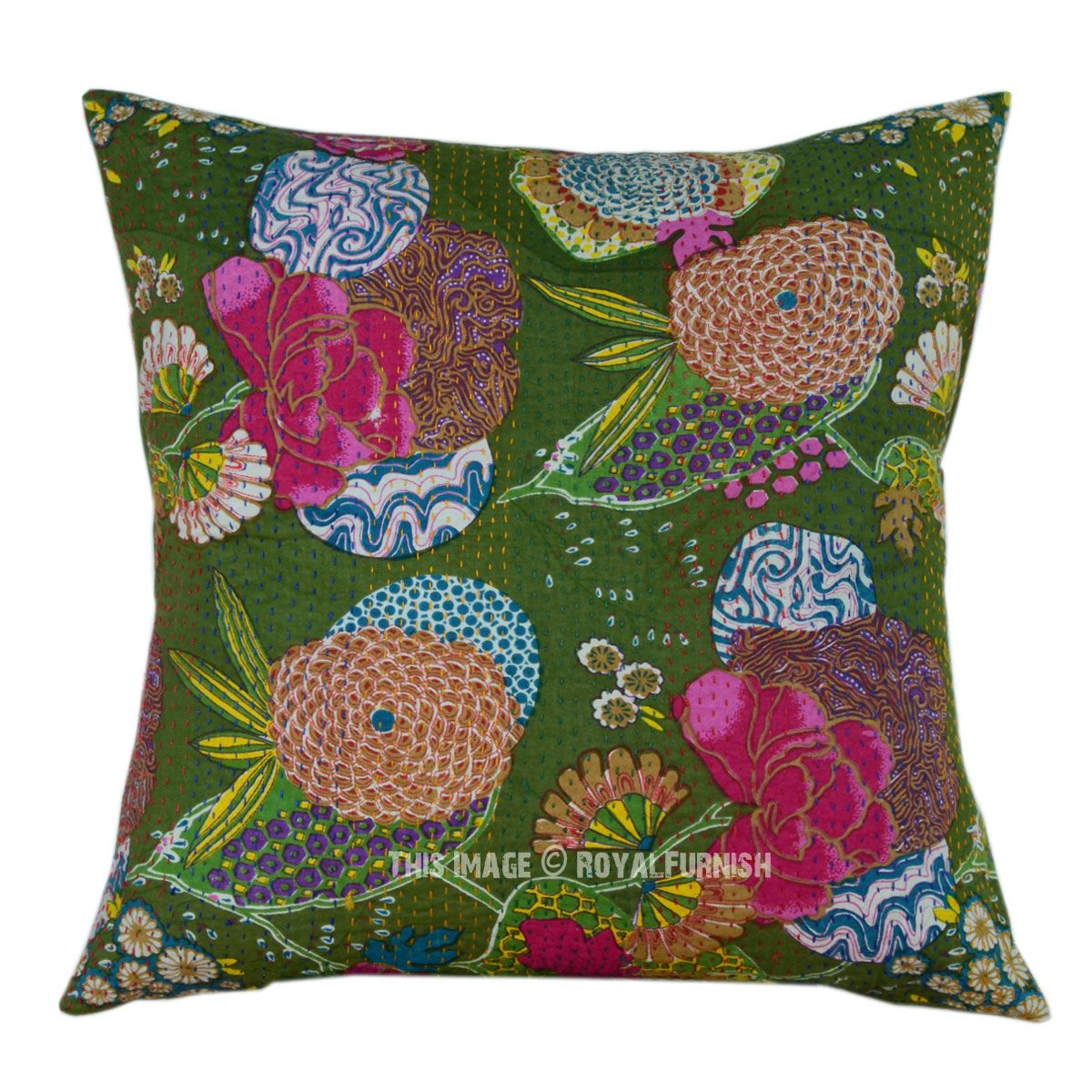 """24""""X24"""" Large Green Decorative & Accent Tropical Kantha"""